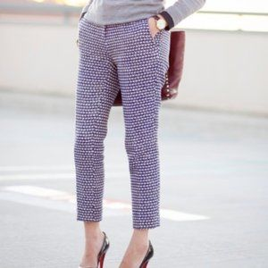 J. Crew Navy Cream Metallic Tweed Cafe Capri Crop